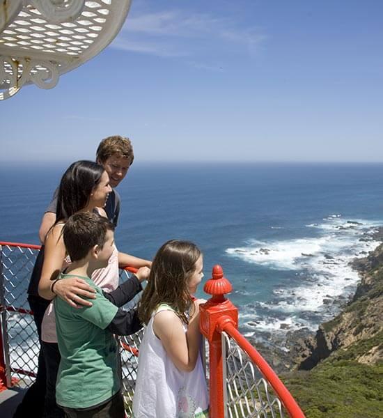 Family on balcony of Cape Otway Lightstation