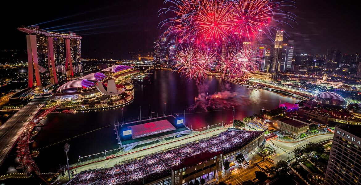 The Singapore Formula 1 night race ends with a bang with spectacular fireworks over the Marina Bay