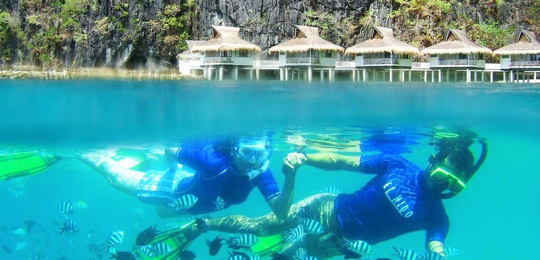 Snorkel at Miniloc house reef milinoc island resort the philippines