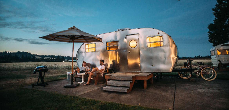 Camping in a camper trailer