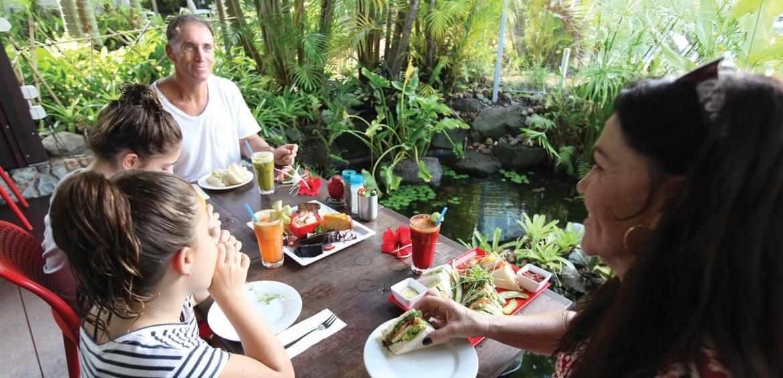 Eating dinner at The Islander Noosa Resort