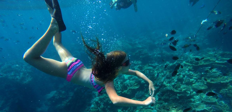 Girl swimming in Vanuatu