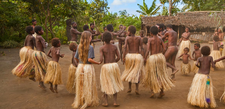 Locals dancing in Vanuatu