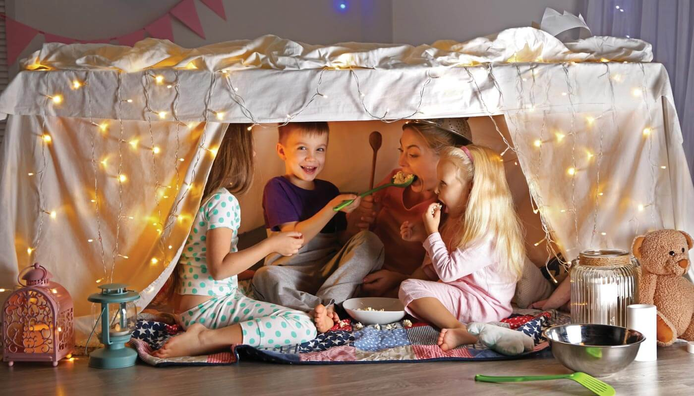 Stay home and build a blanket fort school holiday activities