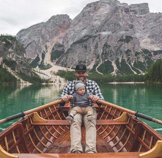 Travelling with a baby in Lago Di Braies Boat