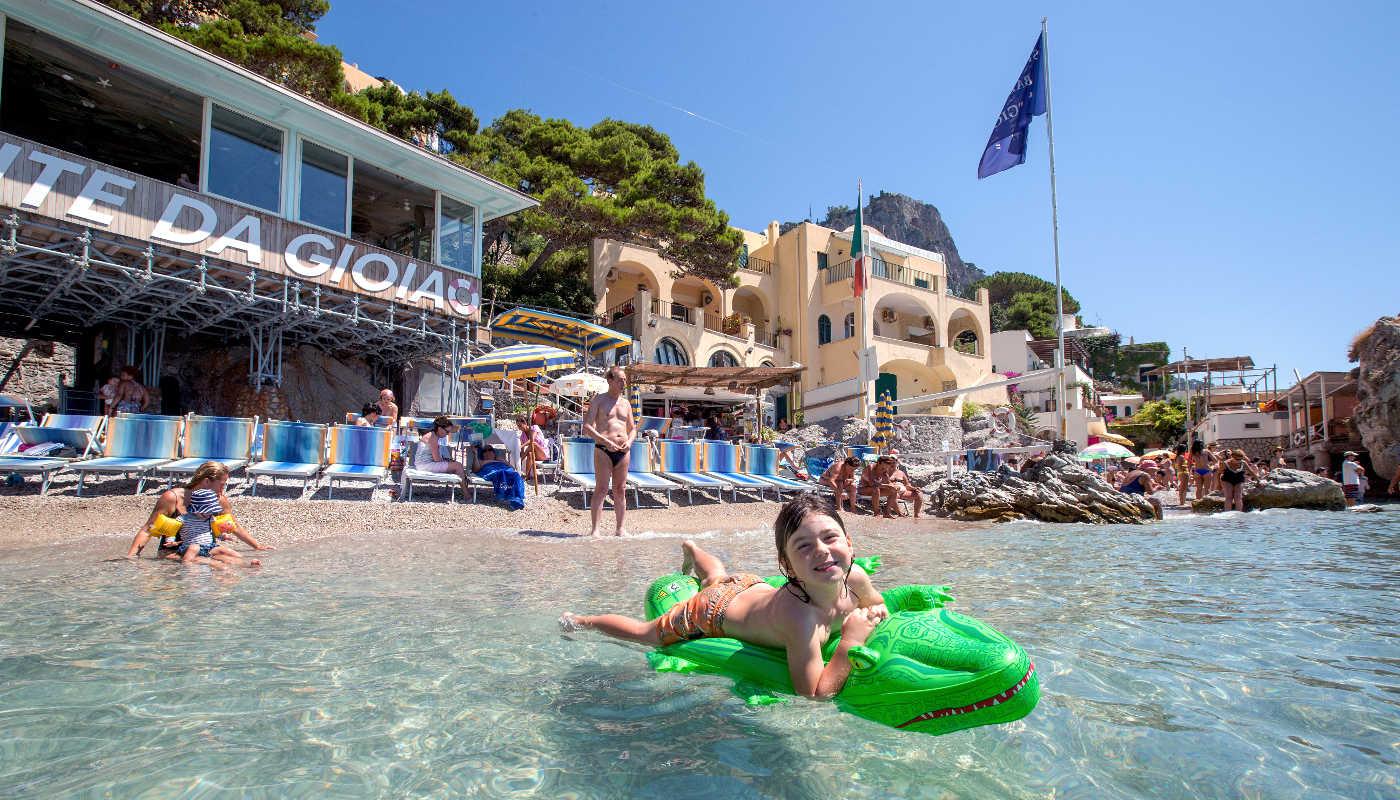 Capri family fun kid swimming