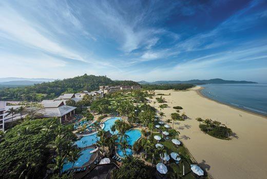 Aerial view of Shangri-La's Rasa Ria Resort & Spa