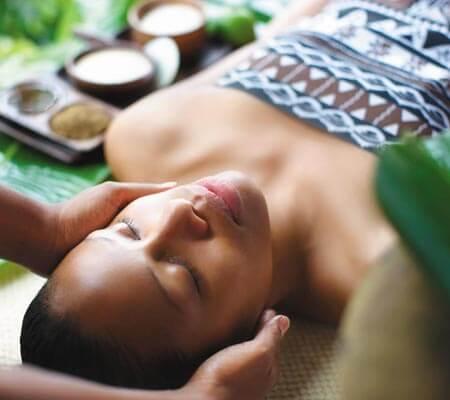 Facial treatment at Shangri-La's Fijian Resort & Spa