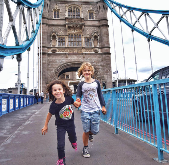 Kids running on the London Bridge