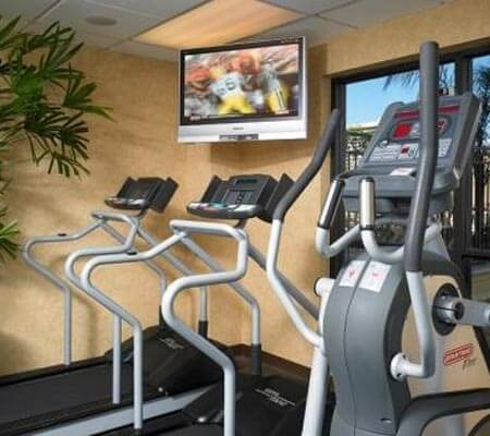 The gym at DoubleTree Suites