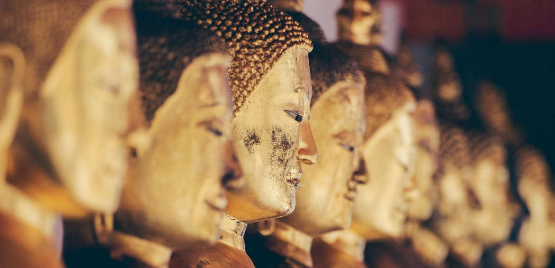 Row of Buddhas bangkok thailand
