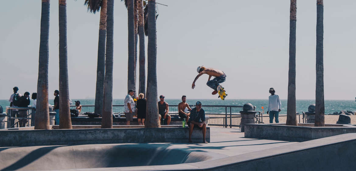 skateboarding in venice, los angeles USA