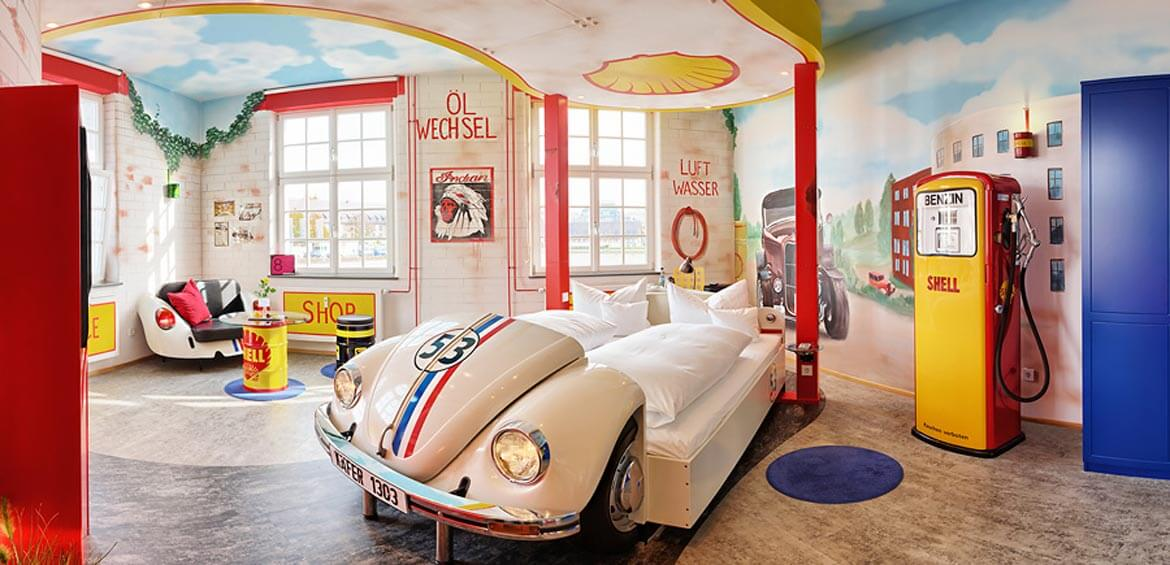 Themed family suites: V8 Hotel