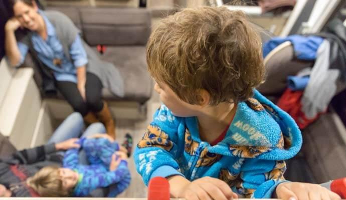 Kids playing in campervan