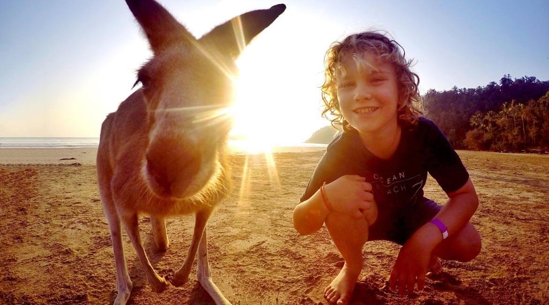 Raff meeting Kangaroos in Mackay
