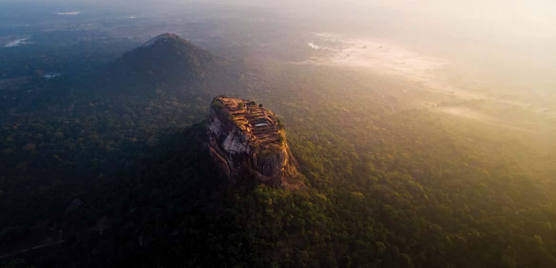 Sunrise over Sigiriya rock fortress in Sri Lanka