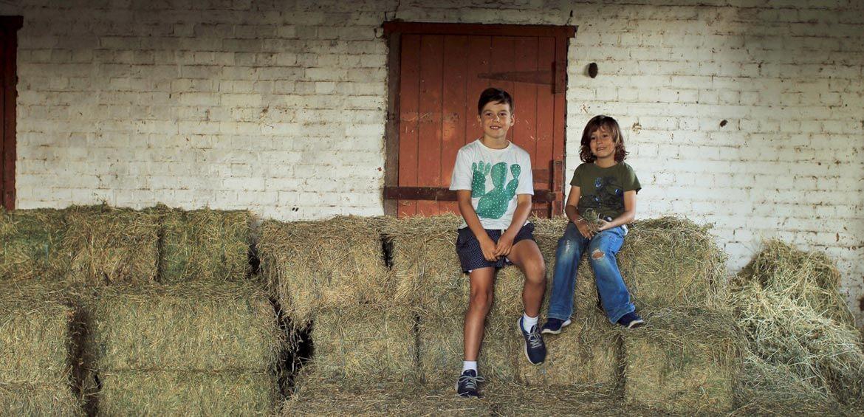 Boys on a haystack