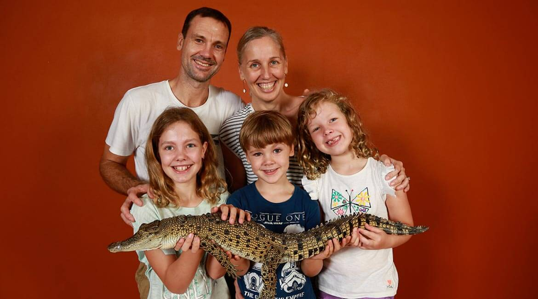 Hold a baby croc, Crocosaurus Cove