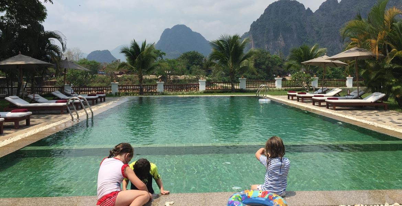 Pool time in Laos