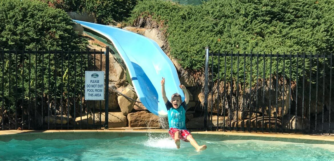 Water slide at a holiday park