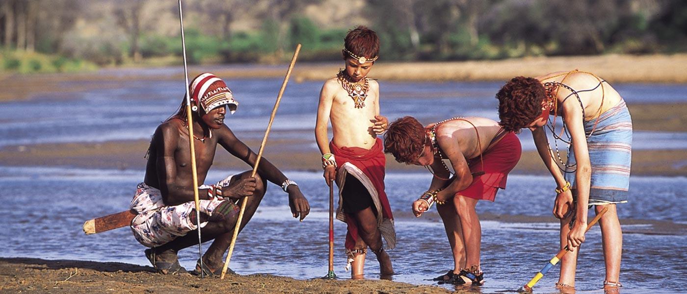 Kids with Maasai people