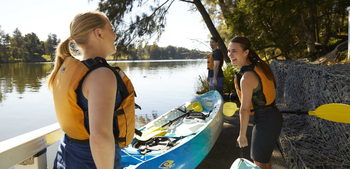 Friends ready to kayak along the Nepean River in Penrith.