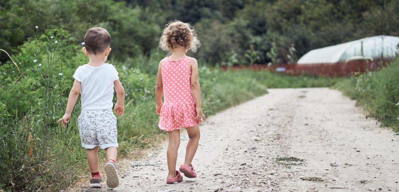 kids walking down path