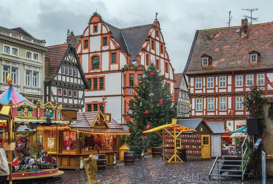 Historic main square of Alsfeld with christmas market, Germany