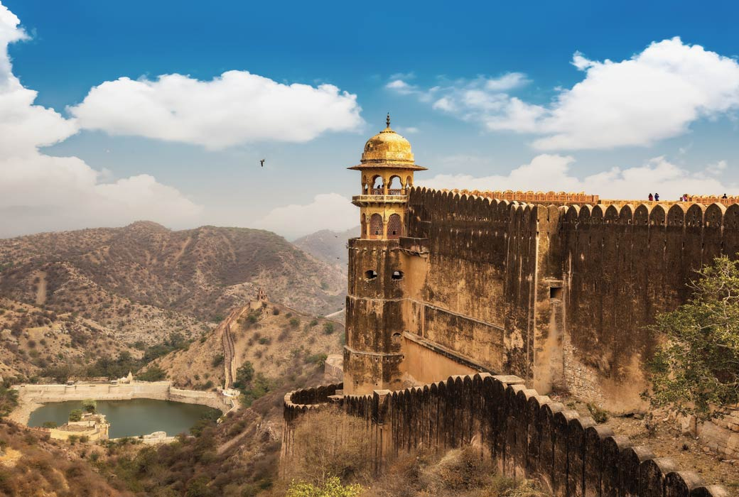 Jaigarh Fort Rajasthan with view of Jaipur city scape and Maota lake