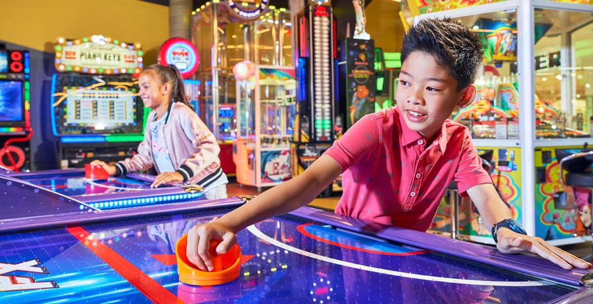 Air hockey fun at Timezone