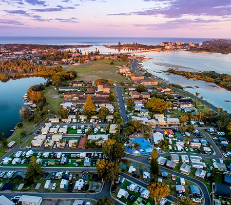 Ariel view of BIG4 Great Lakes at Forster-Tuncurry