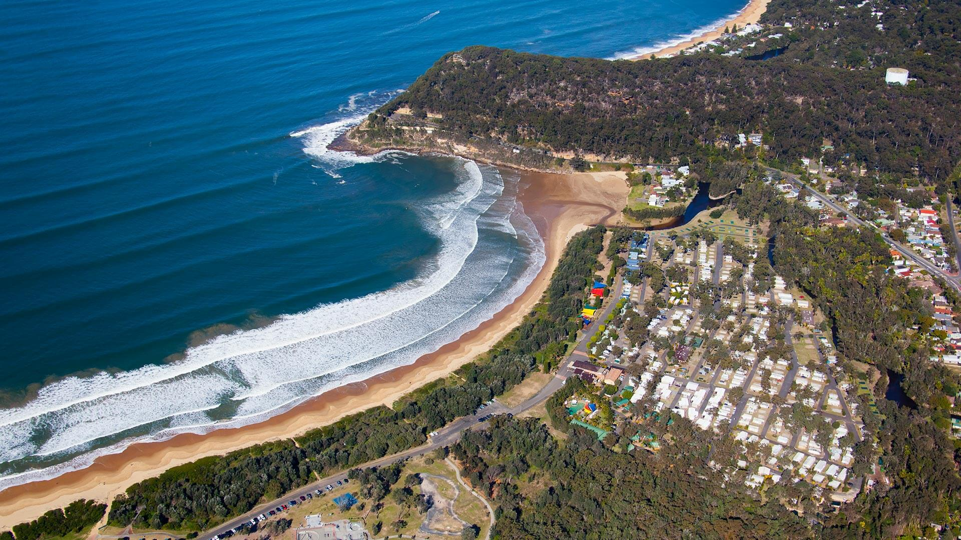 Ariel view of NRMA Ocean Beach Holiday Park
