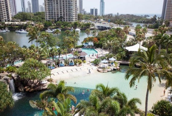 Ariel view of Surfers Paradise Marriott Resort & Spa