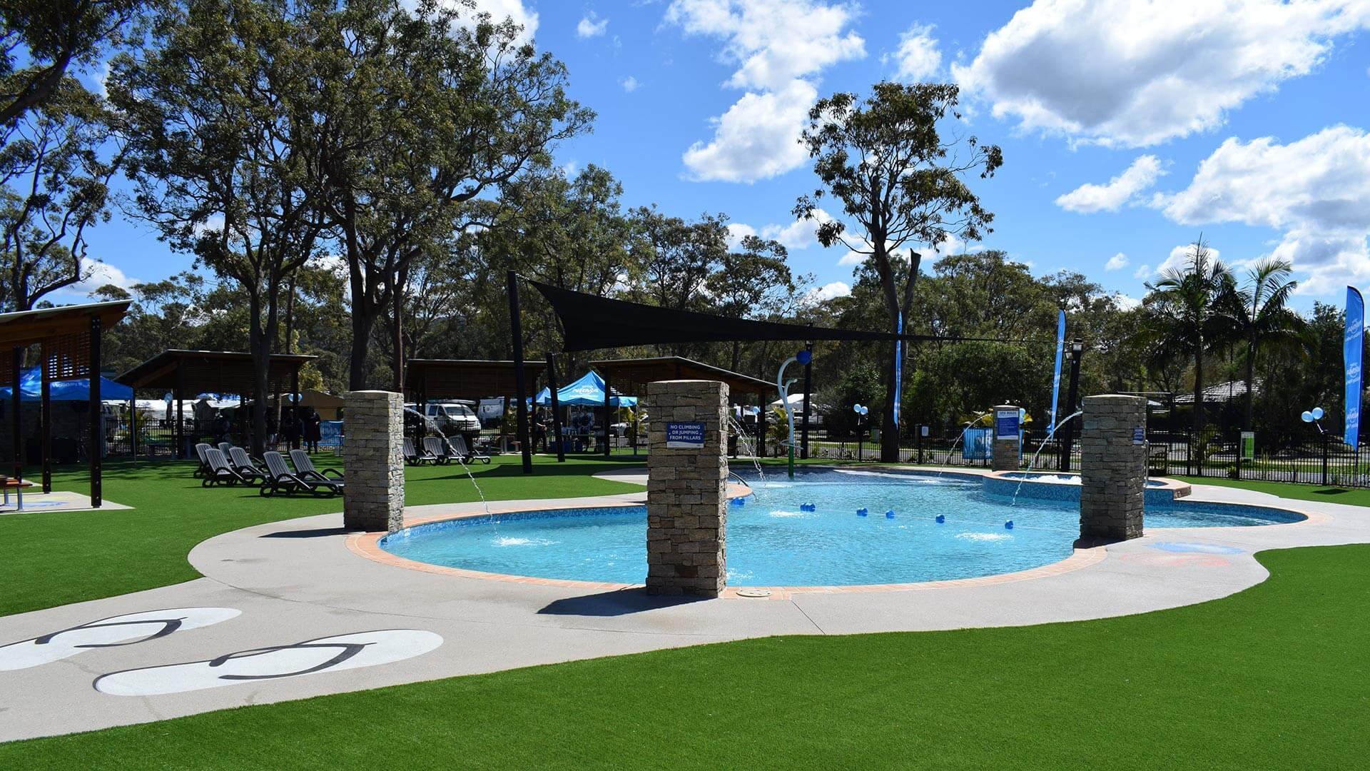 Pool view at NRMA Ocean Beach Holiday Park