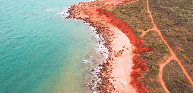 The rugged coastline of Reddell Beach, Broome, WA