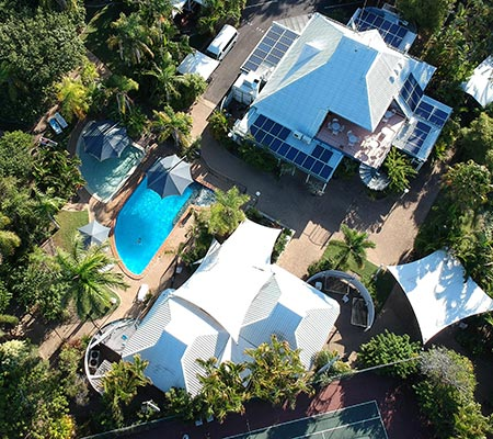 Ariel view of the pool at Kellys Beach Resort