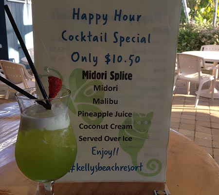 Happy hour at Kellys Beach Resort