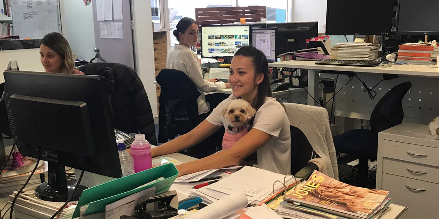 Lily assisting our Production Manager, Grace, with some important business.