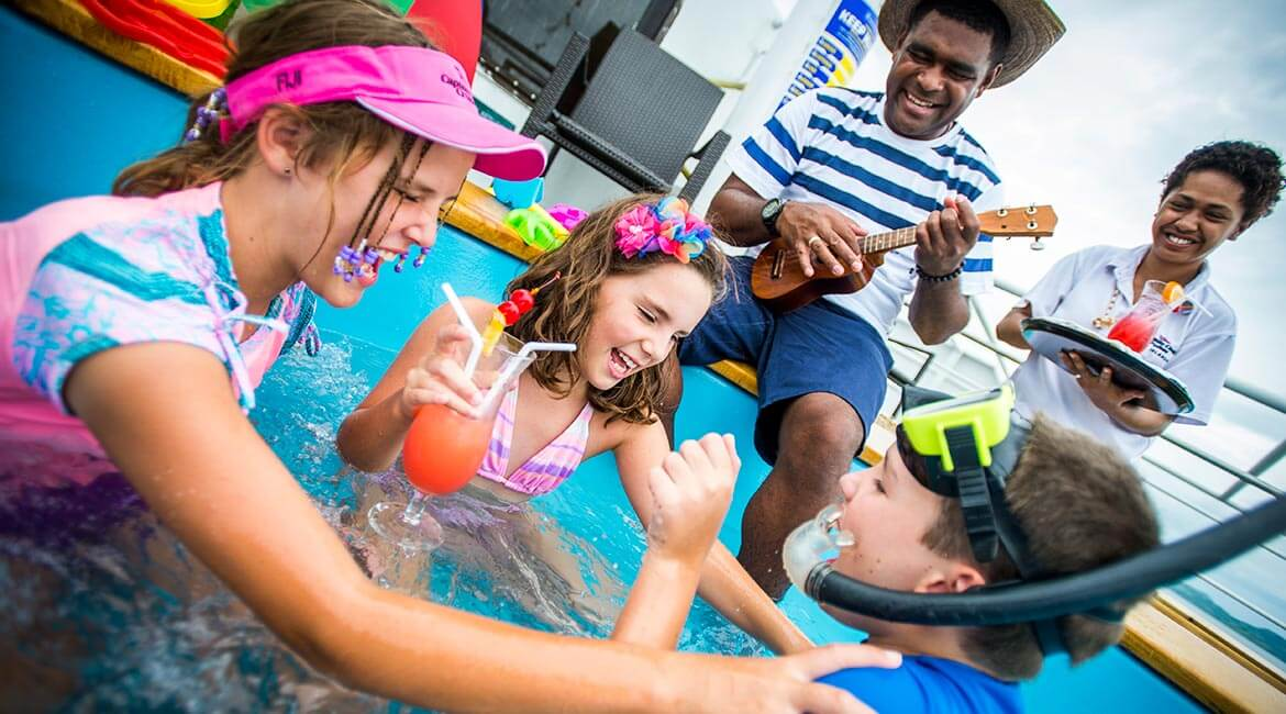 Kids in Jaccuzzi onboard Captain Cook Cruises