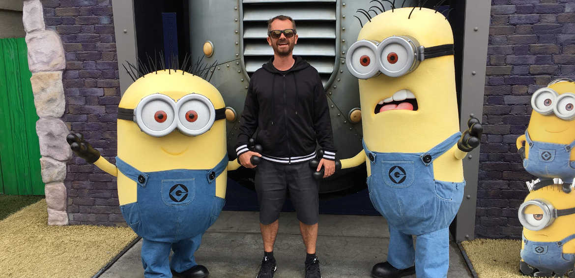 Jason making friends at Universal Studios minions