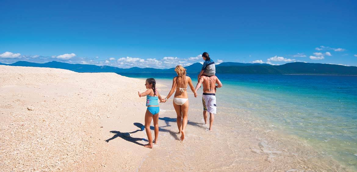Family on Nudey Beach, Fitzroy Island