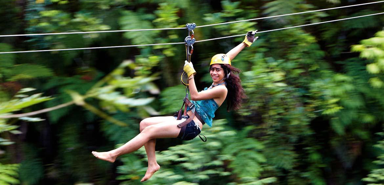 ziplining in Fiji