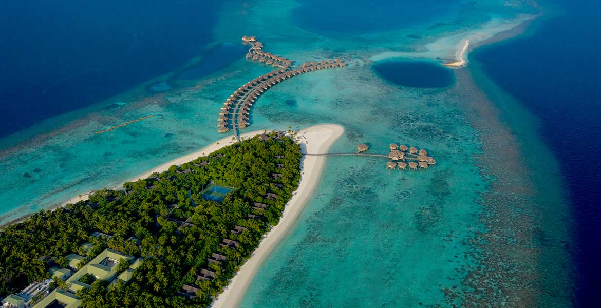 Aerial shot of Vakkaru Maldives