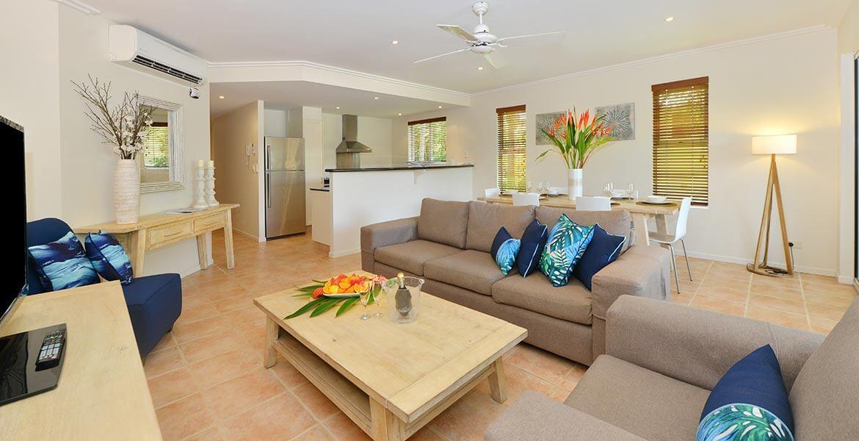 Living room at Cayman Villas Port Douglas