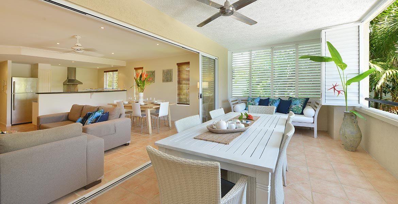 Outdoor living area at Cayman Villas Port Douglas