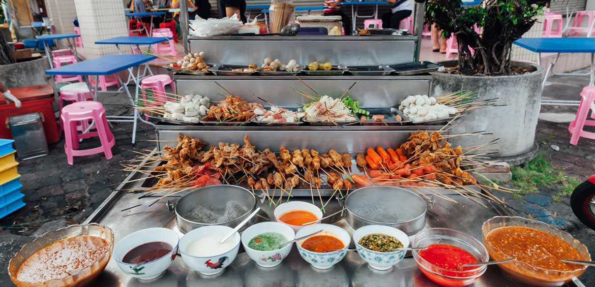 Lok-Lok steamboat stall at the Kimberly Street Food Market, George Town, Penang, Malaysia.