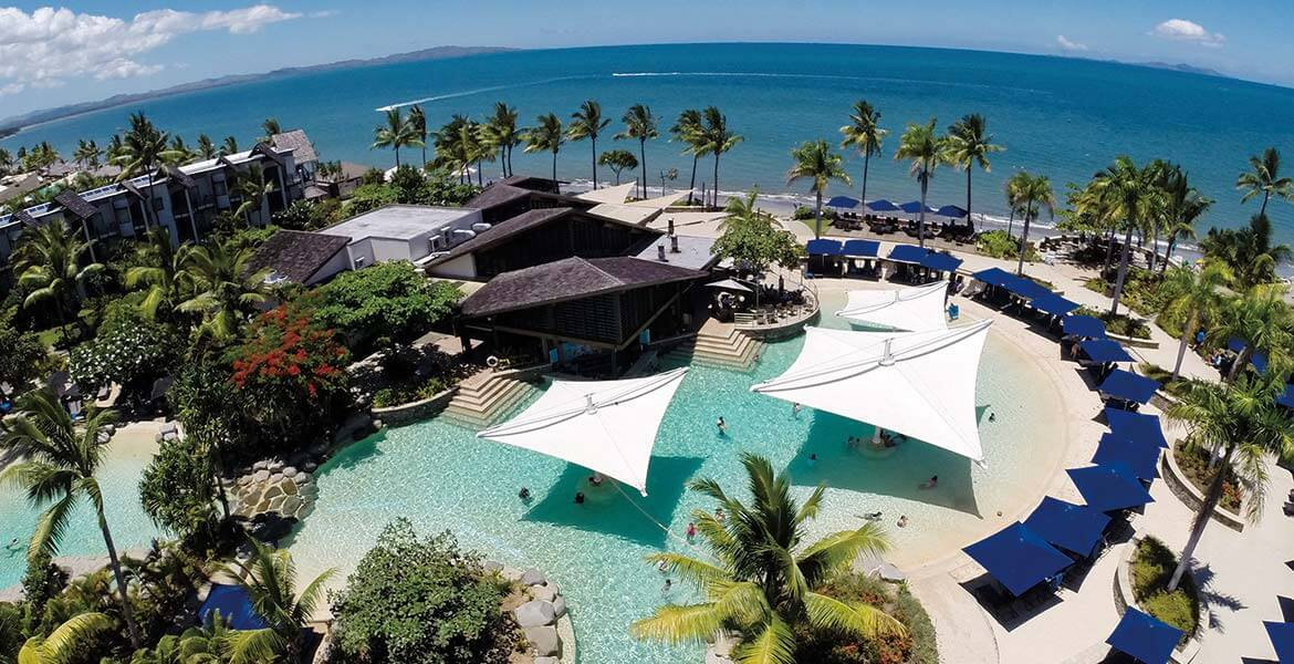 Aerial view of Radisson Blu Resort Fiji Denaru Island