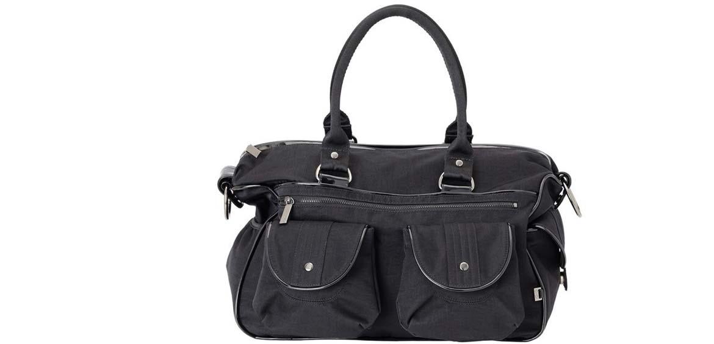OIOI Travel Black Wash Nylon Nappy Bag
