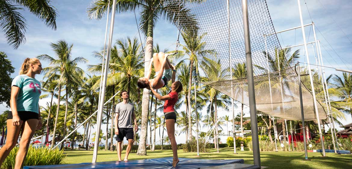 GOs running the trapeze school at Club Med Bali