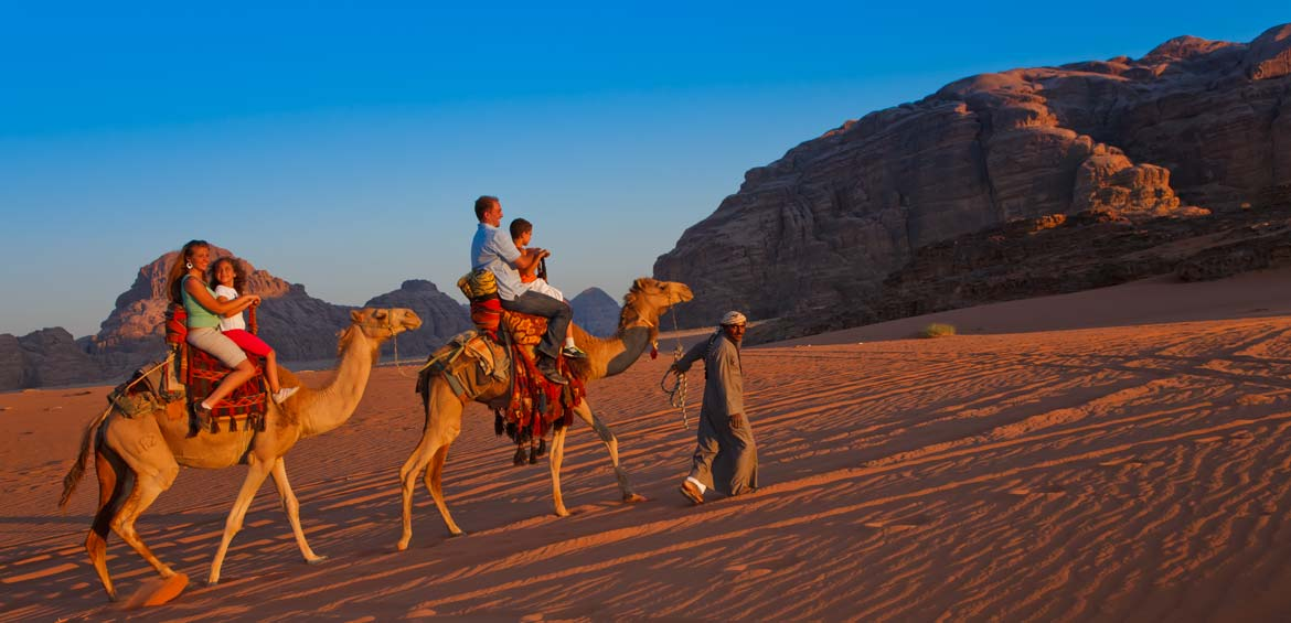 Camel riding in Wadi Rum